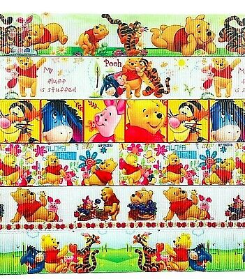 7/8 inch Winnie The Pooh Grosgrain Ribbon Mixed Lot - 6 yard WP46
