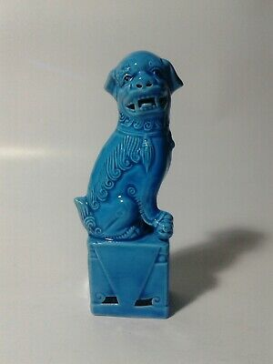 "Antique Blue Glazed Chinese Porcelain Lion/ Foo Dog Temple Guardian 4.7"" Statue."