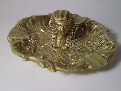 Unique Antique Egyptian Pharao Hand Crafted Engraved BRASS  Ashtray . 4''.