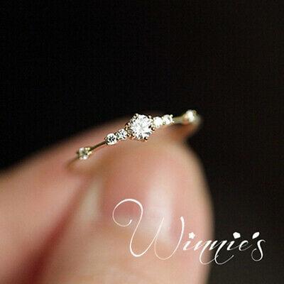 Women 18k Rose Gold Plated White Topaz Jewelry Wedding Proposal Ring Gift Size10
