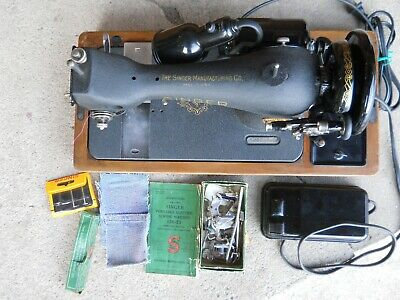 1949 Singer 128-23 Sewing Machine Bentwood Case Accessories Serviced