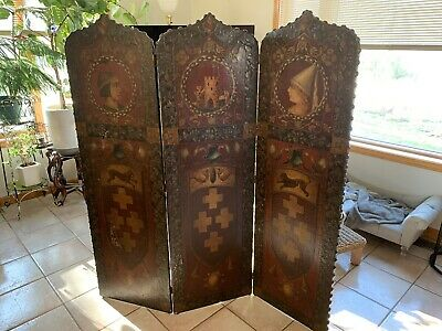 Antique Folding Room Divider ENGLAND Kings Queens Castles late 1800's