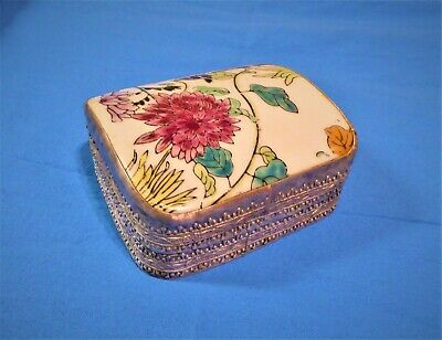 Antique Silver Plated Chinese Porcelain Shard Jewelry Box