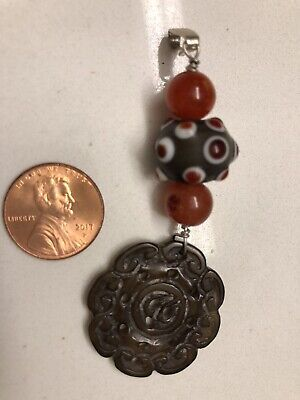 Sterling Silver Necklace Pendant Glass Beads Chinese Carved Antique Stone Jade ?