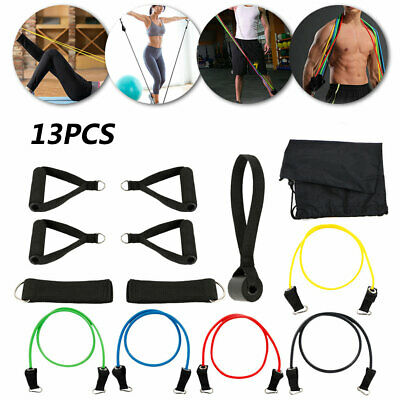 Resistance Bands Workout Exercise Yoga 11/13 Piece Set Crossfit Fitness Tubes Uk