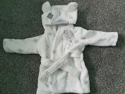 Tatty Teddy Baby Dressing Gown Size 0-3months. Grey And White. Unisex