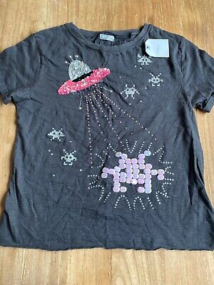 Girls Grey Next T-Shirt With Space Invaders Sequin Design. Aged 9 Years. BNWT