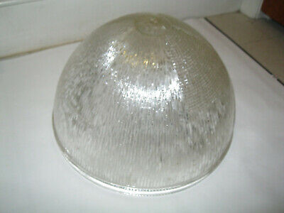 Vtg GE III Holophane Street Light Glass Crosscut Prism Shade Industrial Acorn