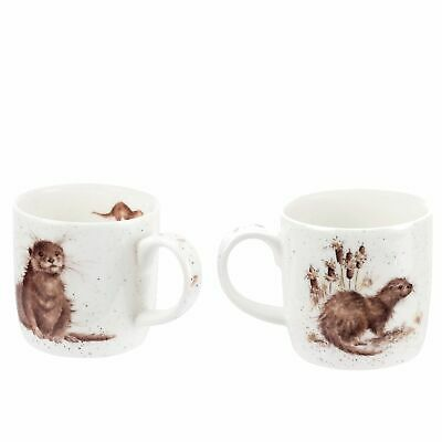 Wrendale by Royal Worcester Set of 2 River Gent Otter Mugs, Fine bone China, 300