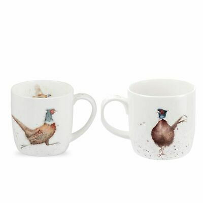 Wrendale by Royal Worcester Set of 2  Lord of the Woods Pheasant Mugs, Fine bone