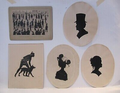 19th & Early 20th Century, FIVE VARIOUS WATERCOLOUR & PRINTED SILHOUETTES