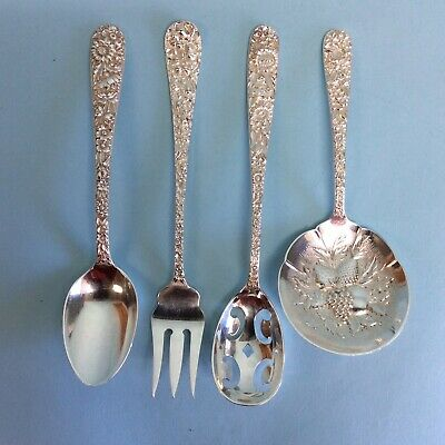 Stieff and S. Kirk & Sons Repousse Sterling Silver 4 Pieces