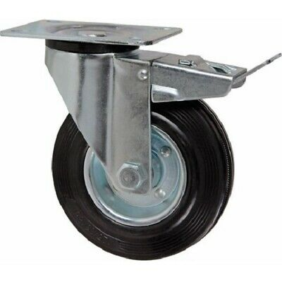 Wheel Rubber Turning with Brake 70 mm with Mount Plate 94x64 MM