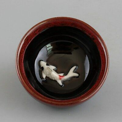 Collect Handwork China Old Porcelain Glaze Relief Lifelike Fish Auspicious Bowl