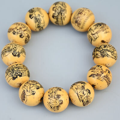 Collect China Old Resin Hand-Carved Spouse Life & Bloomy Flower Noble Bracelet
