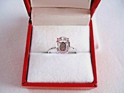 VIDA- 1.75 Ct. Amethyst Solitaire with Diamond  14k White Gold Ring