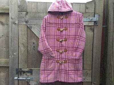 Mini Boden 80% Wool Girls Pink Checked/Plaid Duffle/Toggle Coat 10/11/12 Years