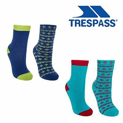 2 Pairs Trespass Childrens Boys Hosie Two Tone Casual Socks TP360