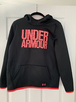 Under Armour Black W/Coral Hooded Sweatshirt Girls Xl Excellent Condition