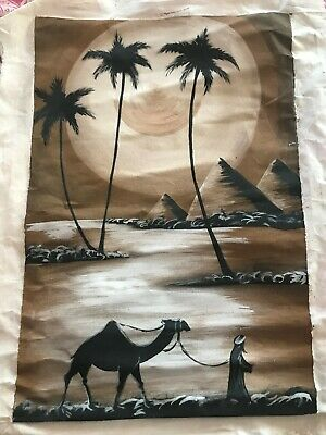 egypt painting on canvas pyramids camel palm trees