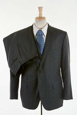 OLIVER WICKS Suit 43 S in Charcoal Gray VBC Italian Wool Modern Flat Trousers