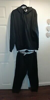 Mens Adidas Hoody Tracksuit Black Top Xxl Bottom Joggers Xl