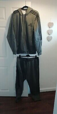 Mens Adidas Hoody Tracksuit Grey With Black Stripes Top Xxl Bottom Joggers Xl