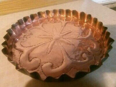 Arts And Crafts Hammered Copper Flan Pie Dish