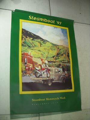 1997 Steamboat Motorcycle Week Colorado Bikes Downtown Poster Used Po-248