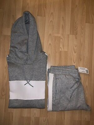 BNWT Mens H&M Full Set Tracksuit Medium Grey & White Joggers & Hoodie