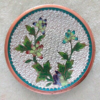 Antique Chinese Cloisonne Enamel Floral Dish Dogwood Flower Brass Bowl Vintage