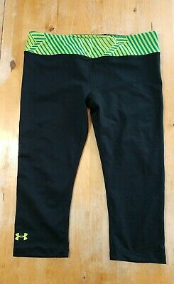 Women's Under Armour capri cropped running Leggings Pants size L LARGE FITTED