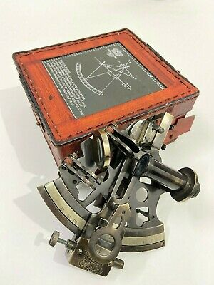 "Nautical 5"" Brass Navigational Sextant With Leather Case - Gift Item"