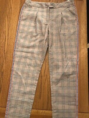 Girls Next Navy Pink Check Trousers Age 10 VGC