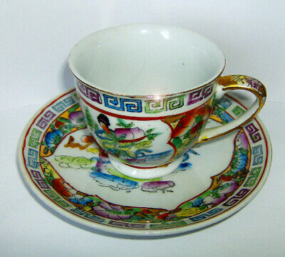 HAND painted Chinese CUP & SAUCER (FIGURINE & FLORA pattern) RARE ITEM