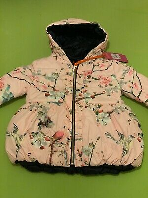 Girls Ted Baker Coat 4-5 Years Thick Jacket New Floral Pink