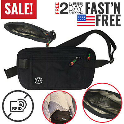 Travel Money Belt Wallet Hidden Under Clothes Waist Pouch Secure Purse Holder