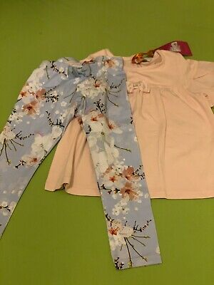 Girl Ted Baker Set 3-4 Years New Leggings And Short Sleeve Tshirt  Bow Floral