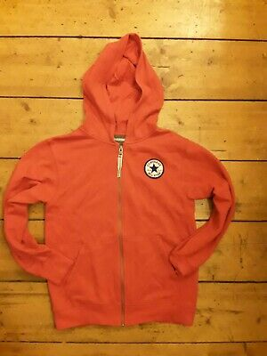 Converse Zipped Hoodie In Bright Red Aged 10/12 Years.  Suitable Boys And Girls.