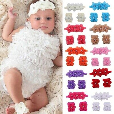 Lovely Baby Girl Kids Barefoot Sandals Shoes Headband Crystal Flower Foot Band .