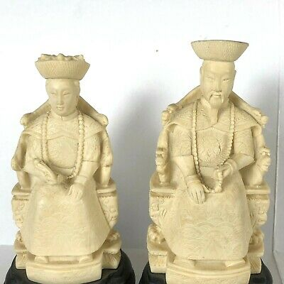 Vintage Asian Chinese King and Queen Figurine Statues Set Resin Royalty