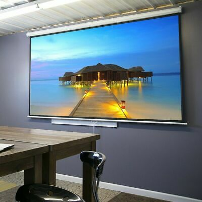 Portable 100inch HD Pull Down Manual Projector Screen-White Matte Indoor/Outdoor