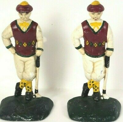 Vintage Cast Iron Bookends Golfers Golfing Golf Metal Aged Patina
