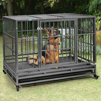 "Dog Crate Large Kennel Pet with Tray Folding Metal Heavy Duty 42"" Flat Top"