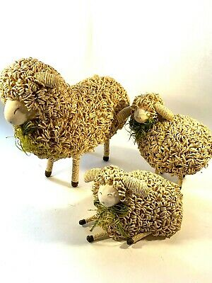 Cute Decorative Sheep Lot of 3 Two Standing and One Laying Down Easter