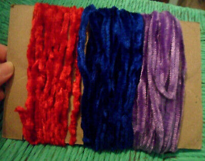 Lot of 3 Very Long PIPE CLEANERS, Craft Chenille, from France: Red, Blue, Purple
