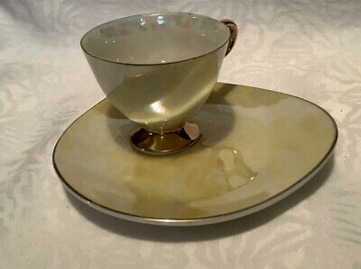 Vintage Japanese Tea Cup And Shaped Saucer - Plate Yellow Lustre Ware Finish