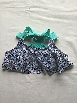 Girls Age 7-8 Years Swim Bikini Top Blue/Pink Floral Design