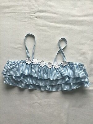 Girls Age 7-8 Years Swim Bikini Top Blue/White Stripes And Frill Design
