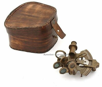 Navigation/Marine Brass Sextant Instrument for Ship/Celestial & Nautical w/ Case